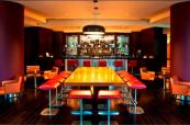 Modern, stylish decor within the Five Lakes bar area