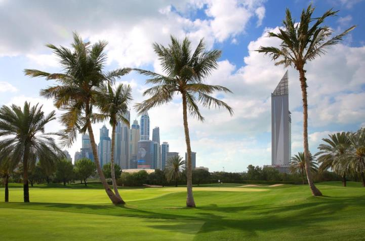 Stunning view of the city's skyline from the 1st at Emirates Golf Course Majlis (DA)