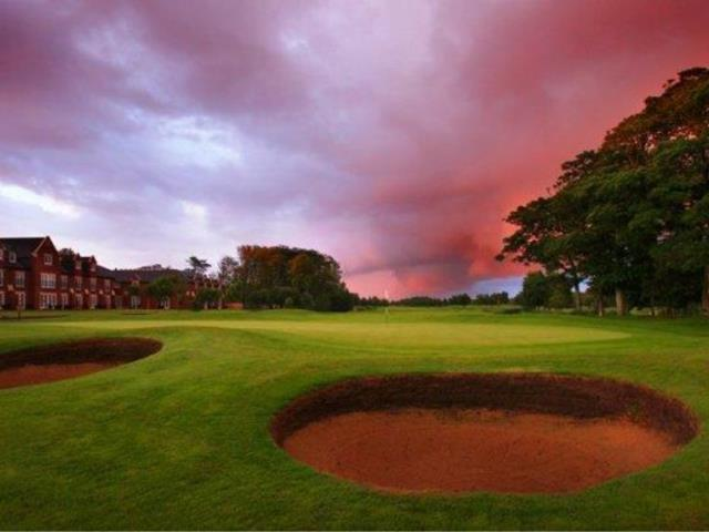 Deep and dangerous bunkers at Formby Hall during a cloudy day