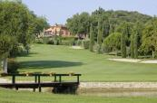 The Clubhouse in the distance at the Garda Golf Country Club, Italy