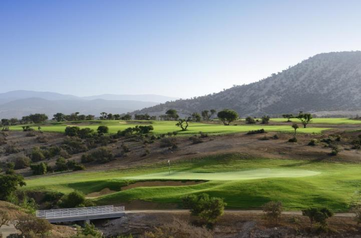 The stunning mountain backdrops at Taghazout Bay Golf Course