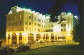 The view of the hotel from outside during night