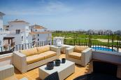 Beautiful terrace at La Torre Golf Resort Apartments with stunning views of the course